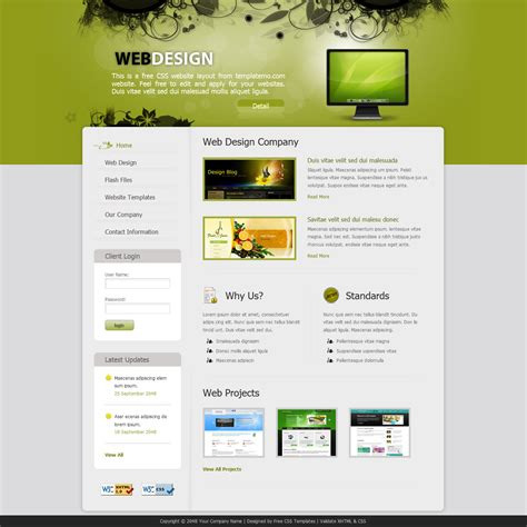 design homepage template 243 web design