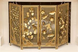 Polished, Brass, Floral, Decorated, Fire, Screen, 109703