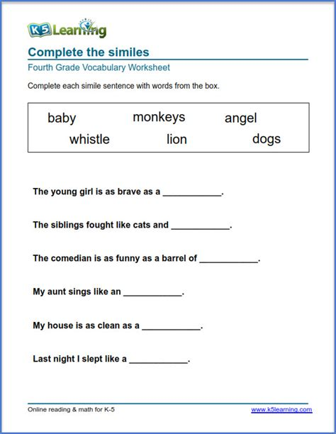 grade 4 vocabulary worksheets printable and organized by