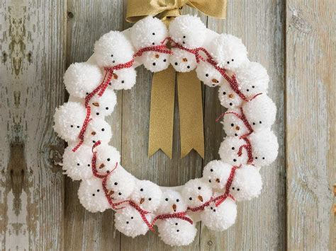 snowman pom pom wreath   womans weekly