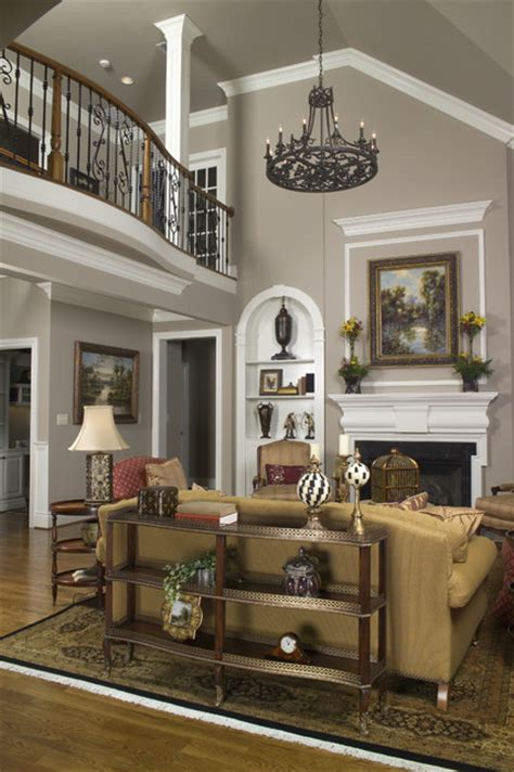 vaulted family room with balcony traditional living room other metro by houck