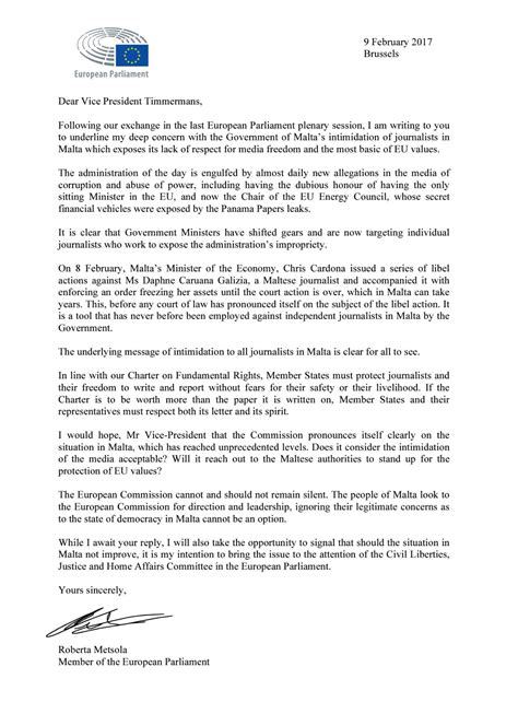 Roberta Metsola's letter to the Vice-President of the