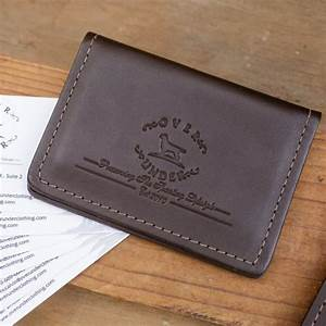 Monogrammed leather sportsman business card holder for Leather business card holder monogram