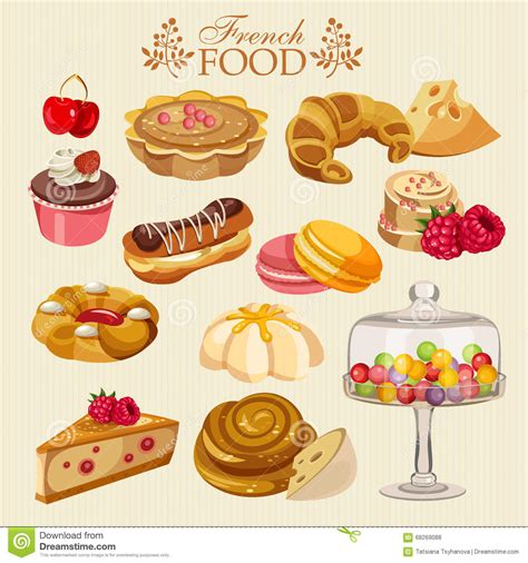 cuisine cr馘ence vector set of cuisine national food of icons for menu stock