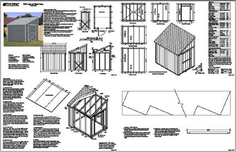 slant roof storage shed plans selapa complete lean to shed plans 8x12
