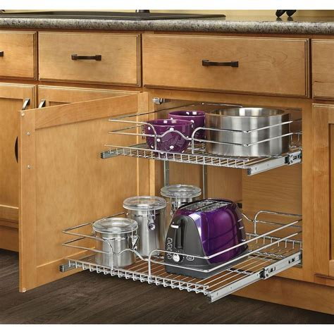 Tiered Shelves For Cabinets by 2 Tier Wire Basket Cabinet Pull Out Chrome Shelves Shelf