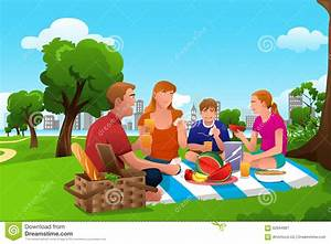 Family Having A Picnic In The Park Stock Vector - Image ...