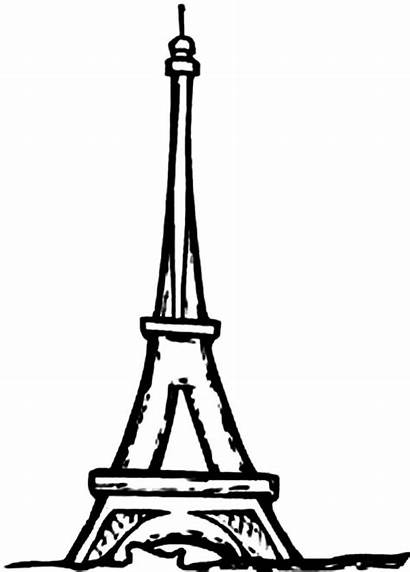 Tower Eiffel Coloring Drawing Easy Paris Pages