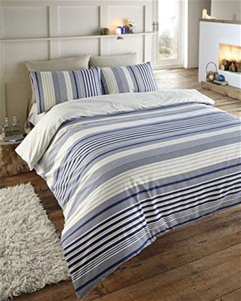 exeter navy blue cream beige striped double duvet cover