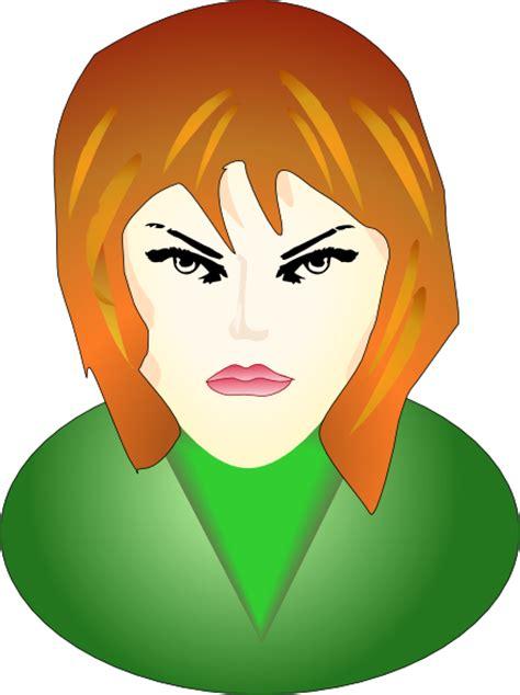 angry female face clip art  clkercom vector clip art