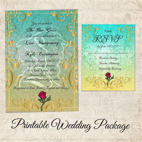 beauty   beast wedding invitation kit beauty