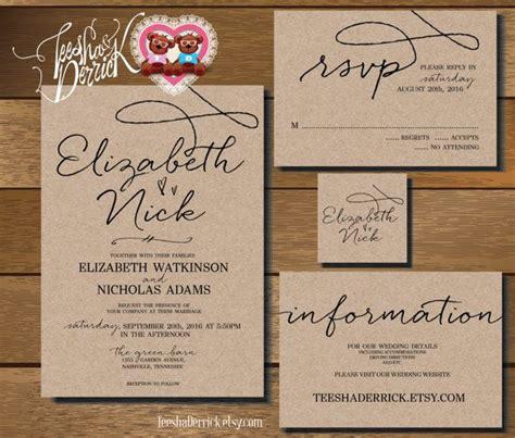 custom printable wedding invitation suite