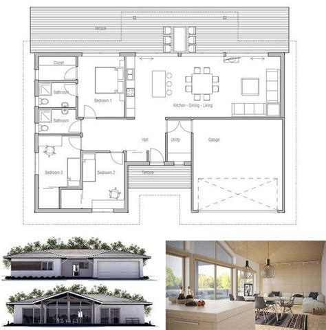 small house plan  double garage  bedrooms floor plan  concepthomecom house