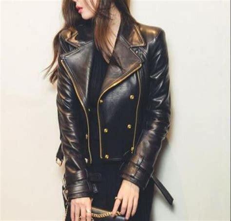 motorcycle style leather jacket women 39 s black moto style genuine leather motorcycle slim