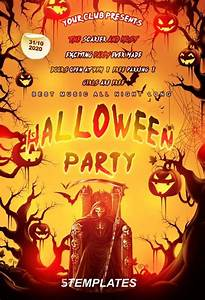 Free halloween party flyer psd template http for Halloween flyers free