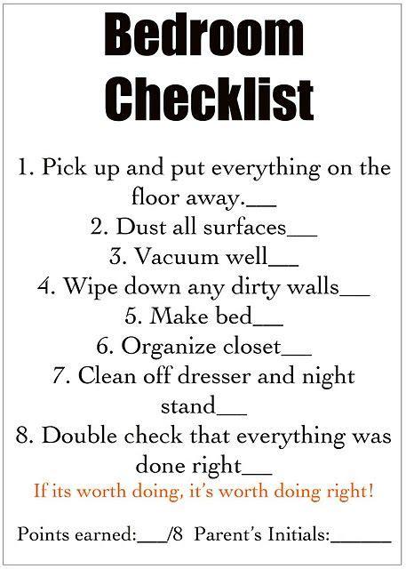 ideas  teen chore chart  pinterest tween chore chart room cleaning checklist