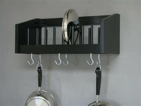 wall mounted rack wood pot pan utensil racks lid plate cook book shelf kitchen ebay