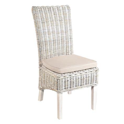 country white rattan chair pair