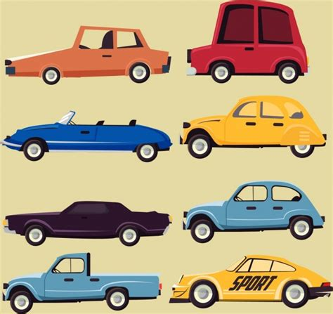 Car Icons Collection Various Types Flat Design Free Vector