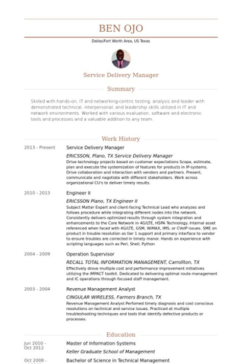 service delivery manager resume sles visualcv resume