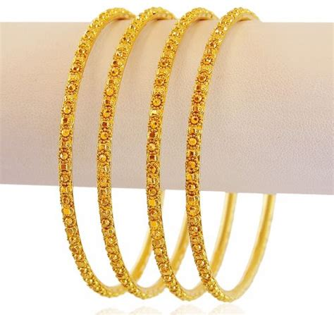 22k gold bangles set 4 pc asba60394 22k gold indian design bangles set set of 4 bangles