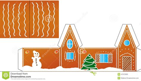 gingerbread house folded model paper stock vector image