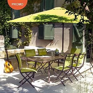 Ensemble De Jardin Pas Cher : ensemble repas barcelona 6 chaises pliantes parasol ~ Dailycaller-alerts.com Idées de Décoration