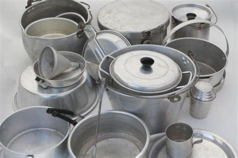 huge lot vintage aluminum pots pans camp kitchen cookware  camping campfire cooking