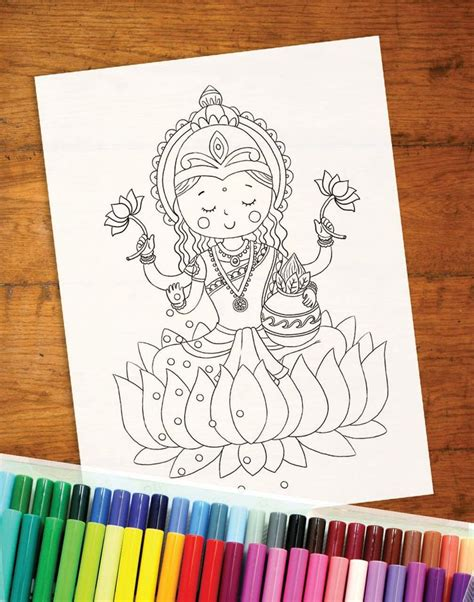 diwali colouring page lakshmi colouring page childrens
