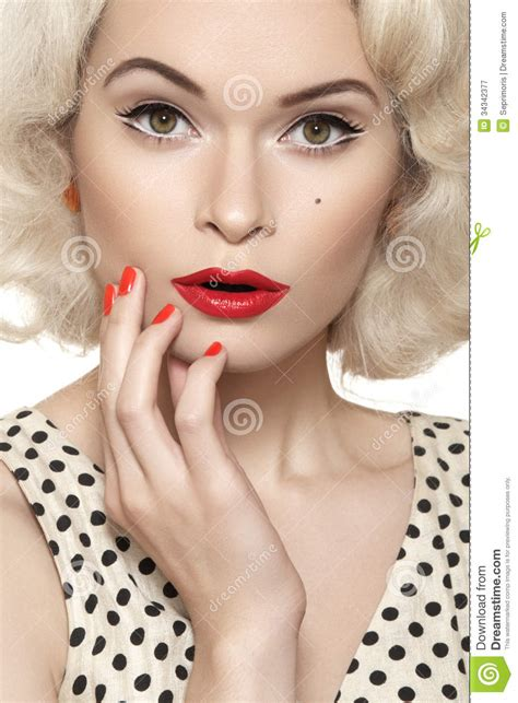 American Retro Pin up Girl With Old Fashioned Make up