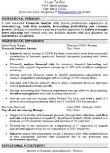 resume financial analyst objective
