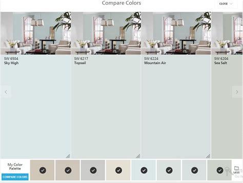 sherwin williams paint color comparison sherwin williams colorsnap compare colors sky high top