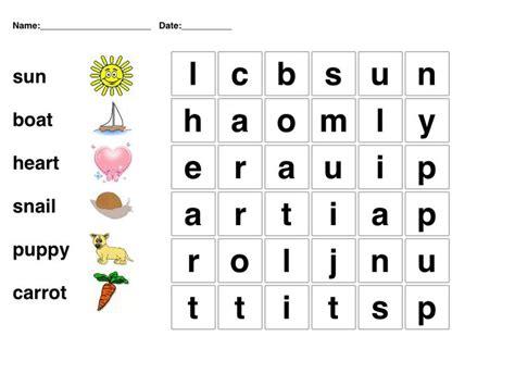 kindergarten word search picture word puzzle for kindergarten students phonetics pinterest