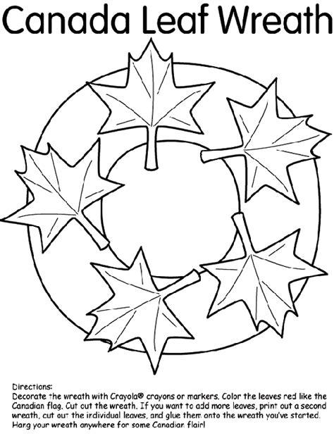 canada leaf wreath coloring page crayolacom