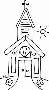 Church Coloring Clip Clipart Sweetclipart sketch template