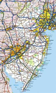 NJ New Jersey Road Map
