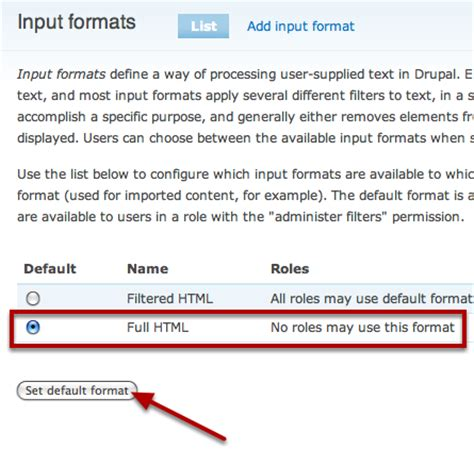 changing default input format optional
