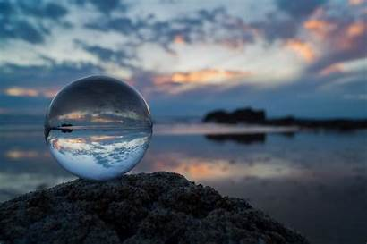 Ball Crystal Sunset Focus Glass Reflection Water