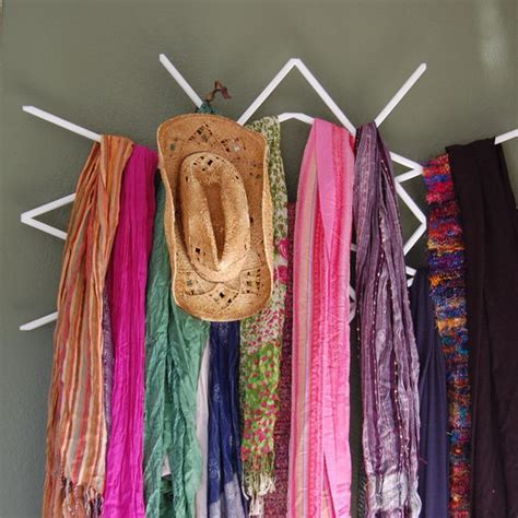 scarf display rack storage creative diy organizer scarves window finished hat hative winter source displayed organization