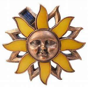 Moonrays solar powered antique bronze outdoor led poly sun