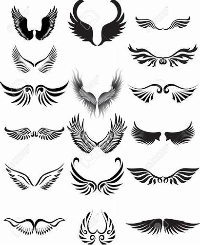 Wings Angel Silhouette Clipart Wing Curved Tribal