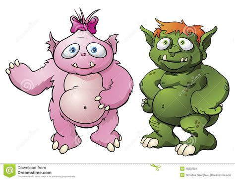 Cute Monster Cartoon Characters Stock Vector