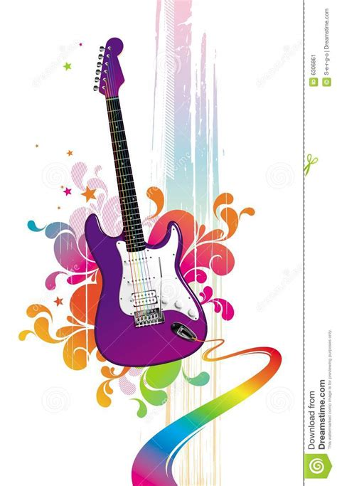 funny guitar stock vector image  floral melody ornate