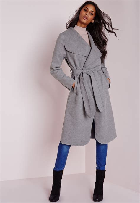 Missguided Long Belted Waterfall Coat Light Grey In Gray