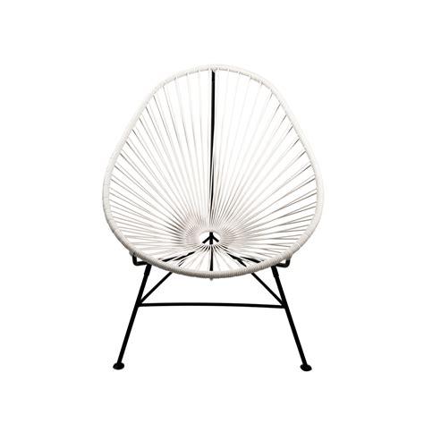 acapulco modern steel lounge chair black frame white