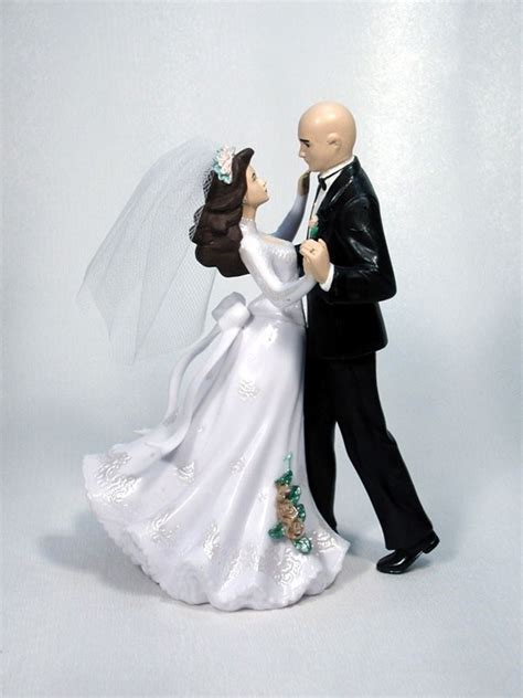 dance bald wedding cake top bride groom couple