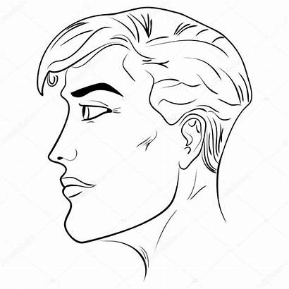 Profile Outline Side Head Male Human Vector