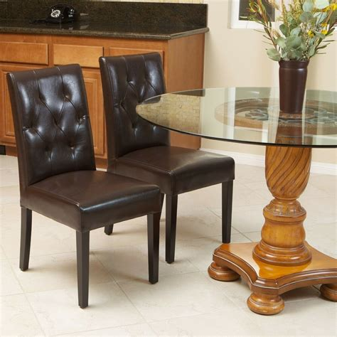 set   elegant brown leather dining room chairs