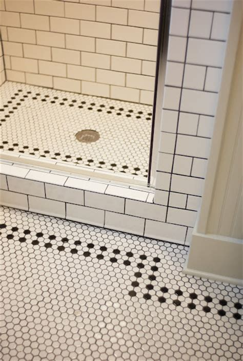 black and white hex tile traditional bathroom