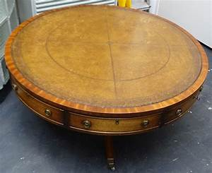 large round wooden coffee table with four drawers mid With large wooden coffee table with drawers